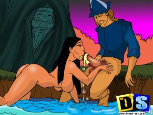 naked pocahontas sucks cock
